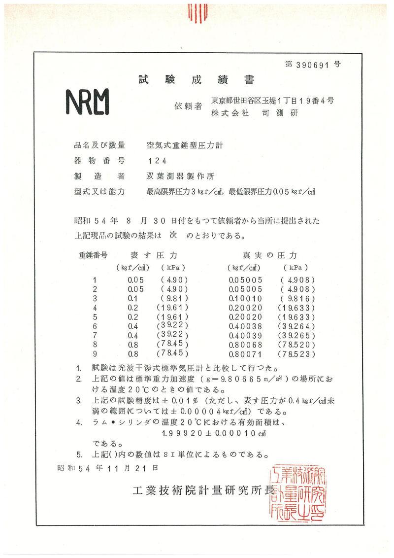 NRLM試験成績書